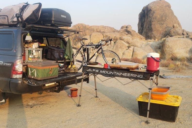 Gear setup in the back of a truck camper