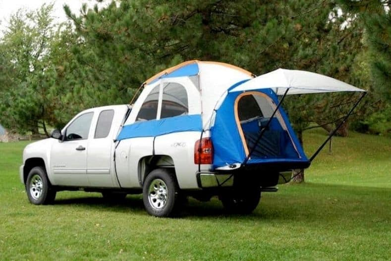 Truck bed tent set up in truck