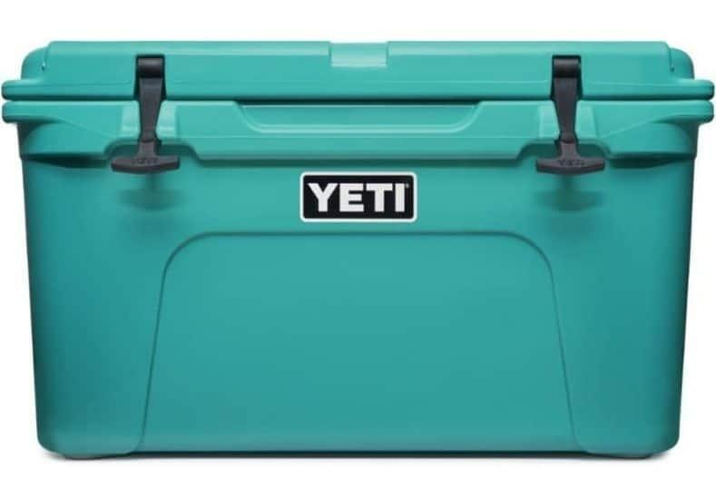 Aqua colored YETI cooler