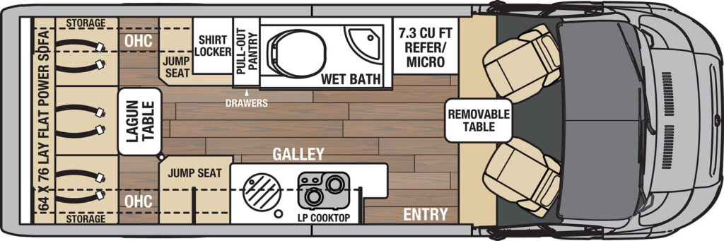 Coachman Nova Class B RV floor plan diagram with wet bath