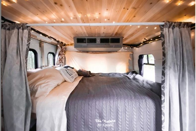 Bed view of Connor and Kesley's conversion
