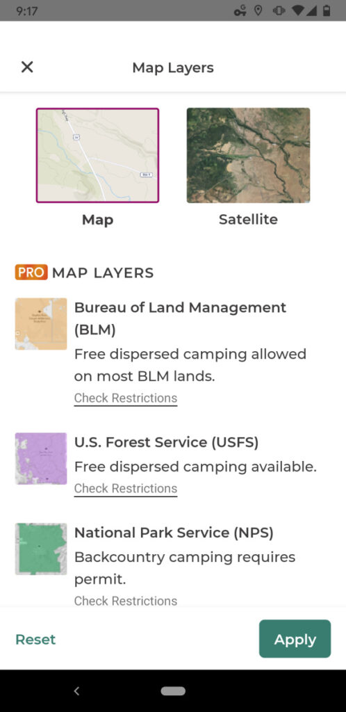 The Dyt Pro app helps you sort federal lands to find free camping