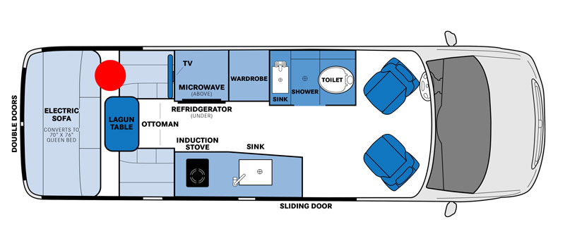 Interior diagram with the Pleasure Way Plateau smallest RV with shower and toilet