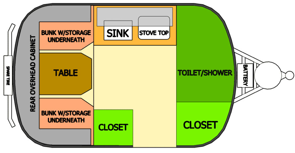 Scamp travel trailer floor plan showing toilet and shower option