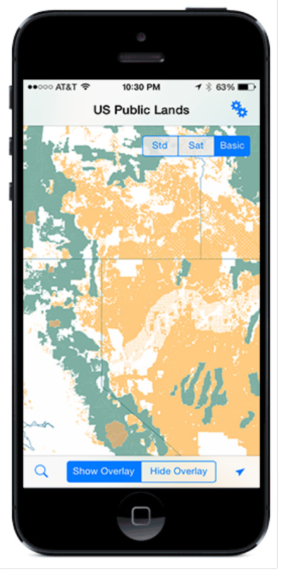 US public lands app showing filtered camping areas