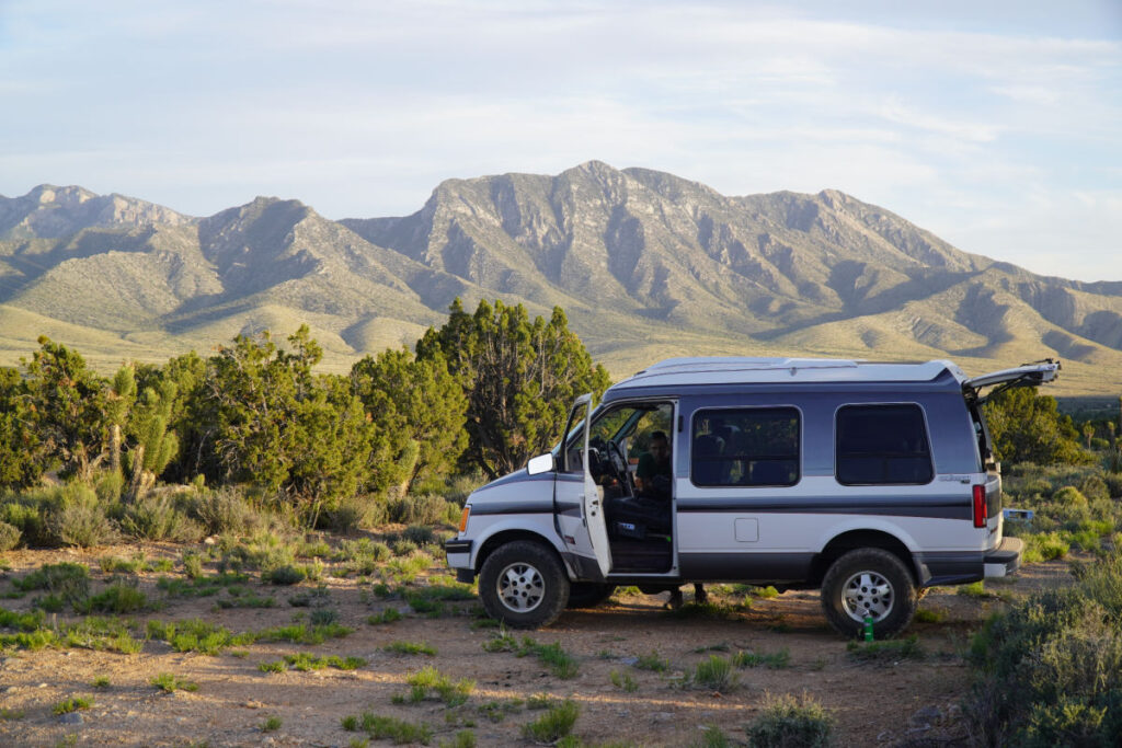 campervan boondocking in the Nevada desert