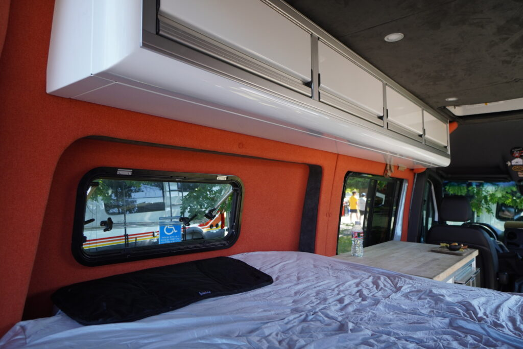 Flarespace bumpouts to sleep sideways in a campervan