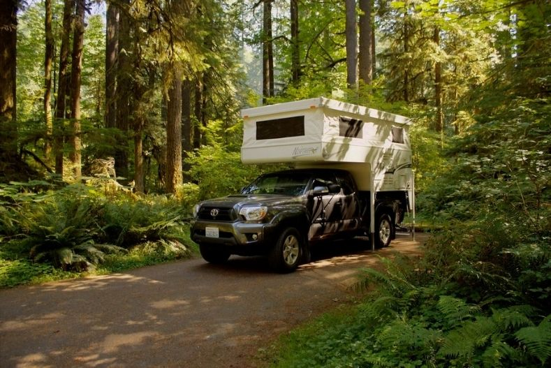 Northstar 600SS truck camper in a forest