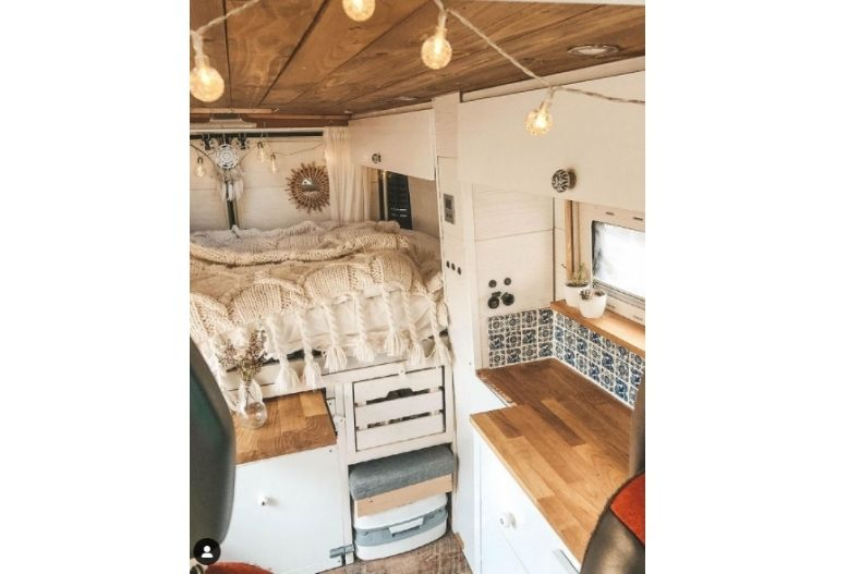 Campervan interior with extra drawers and hidden storage installed