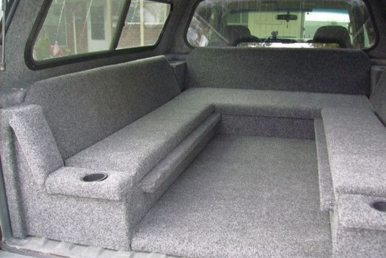 Carpeted wrap around bench seats in camper shell