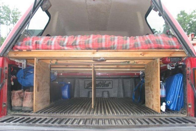 Raised platform camper shell interior idea with three support pieces