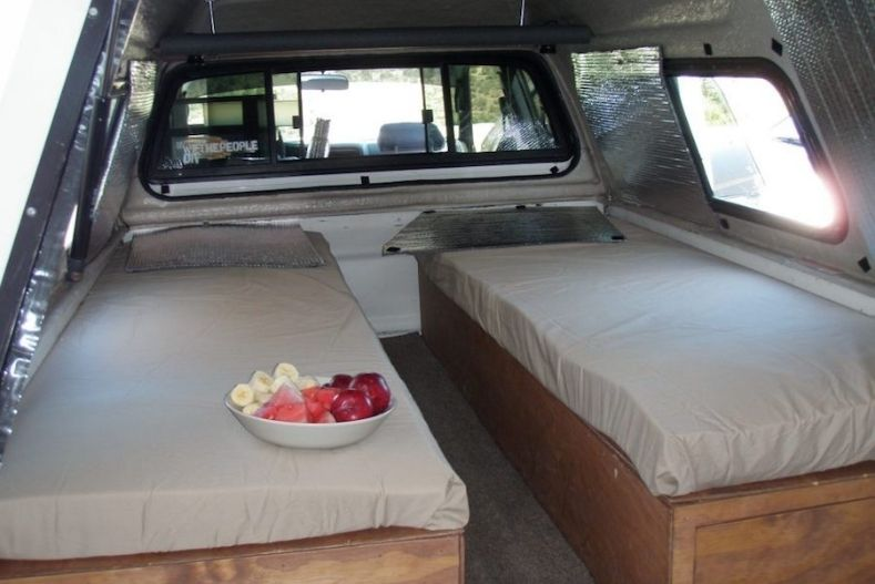 Custom twin beds in camper shell