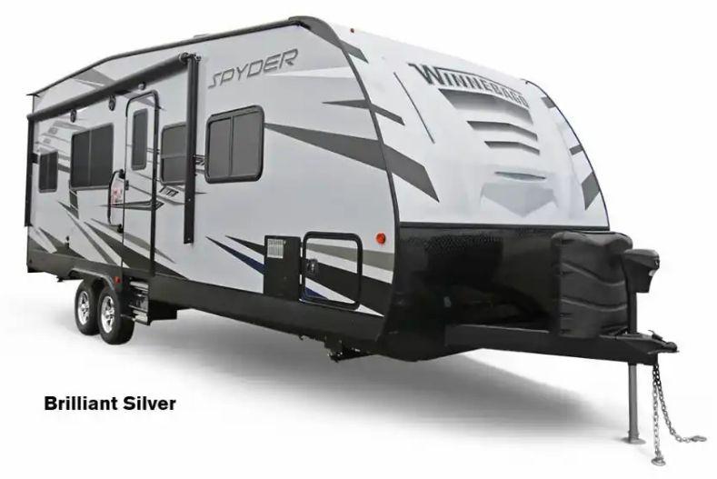 Winnebago Spyder lightweight toy hauler travel trailer exterior view
