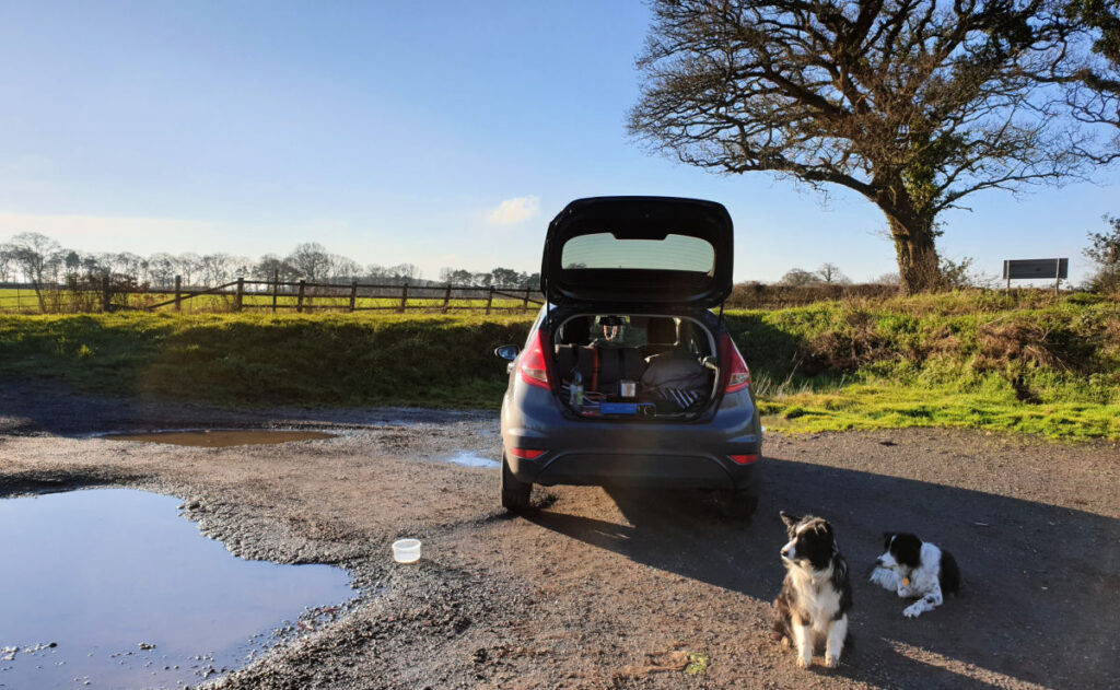 Rear hatch open on a Ford Fiesta car camper conversion