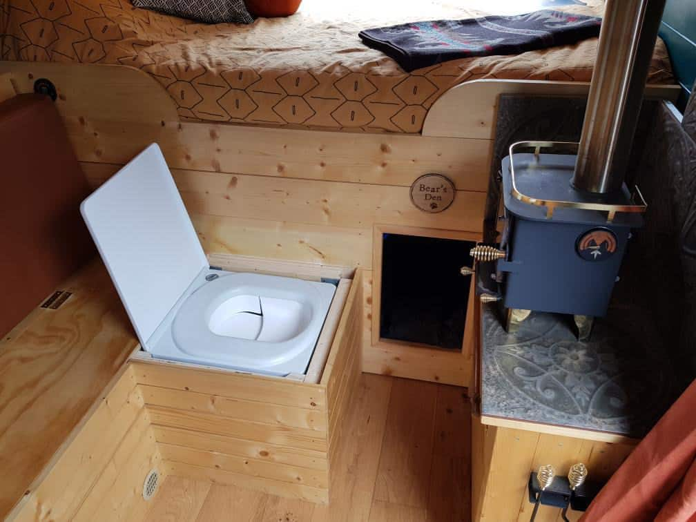 Cuddy composting toilet in a campervan