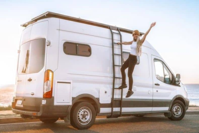 Vendy and Marz's Ford Transit cargo van conversion exterior