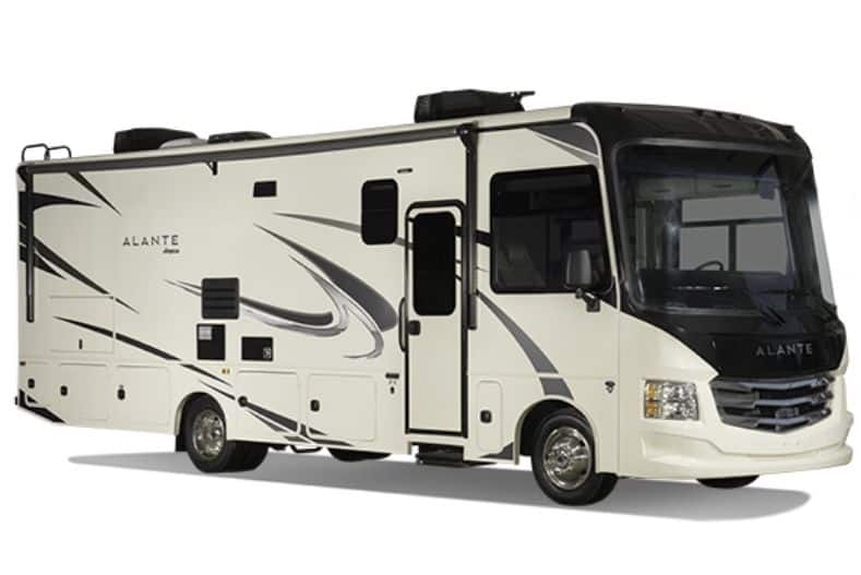 Jayco Alante Class A Motorhome with bunks exterior view with white background