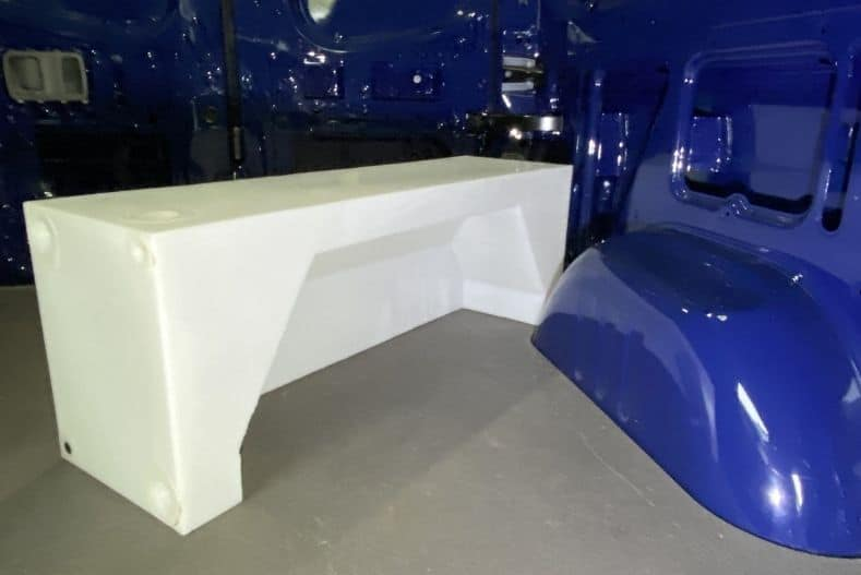 NW Conversion's wheel well water tank for cargo van conversions