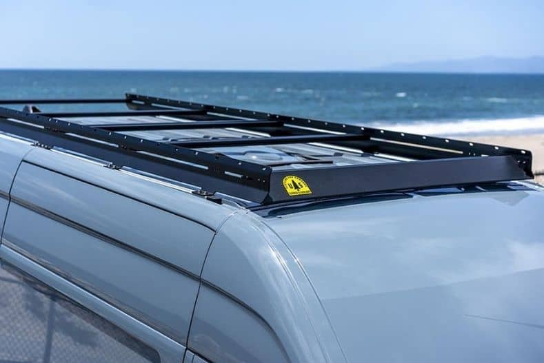 Flatline Van Company's roof rack installed on a Sprinter cargo van conversion