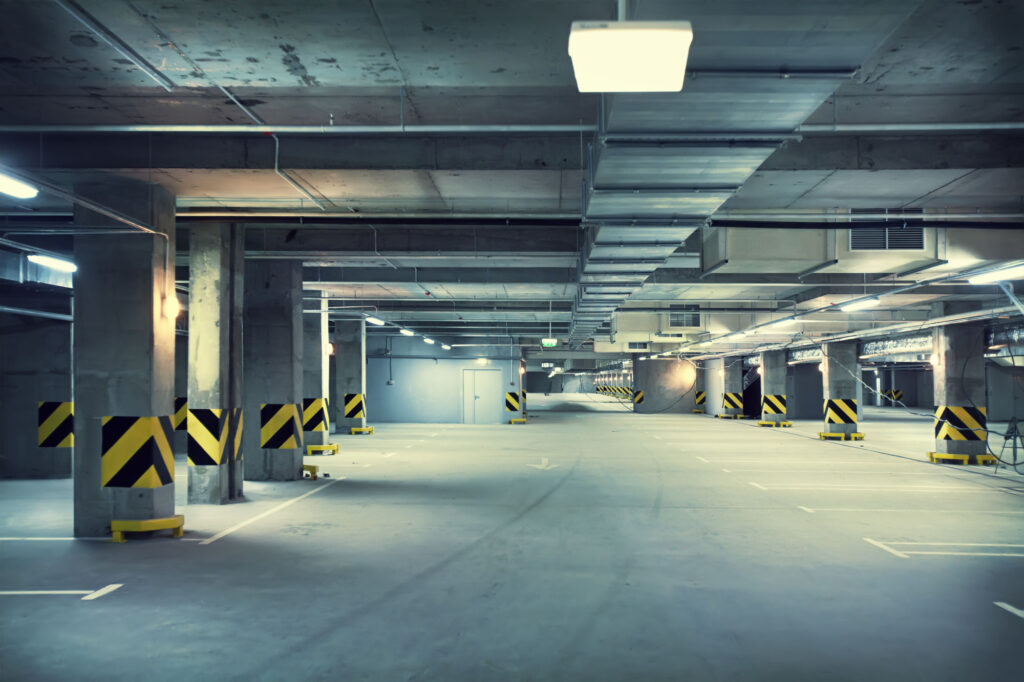 Underground parking garage where you may be able to sleep in your car legally