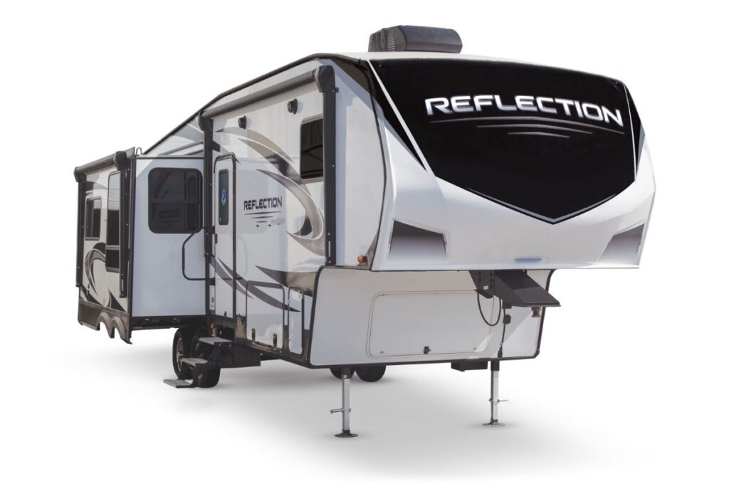 Grand Design Reflection Rv that sleeps 8 exterior with slide out, white with black and grey accents
