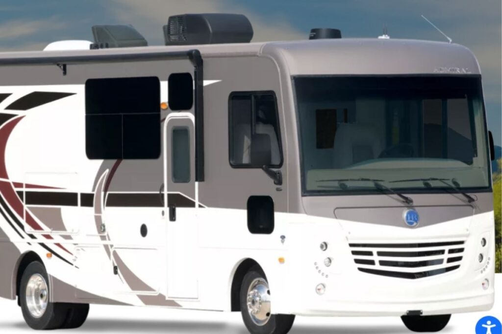 Holiday Rambler Admiral RV exterior view with grey and maroon accent colors