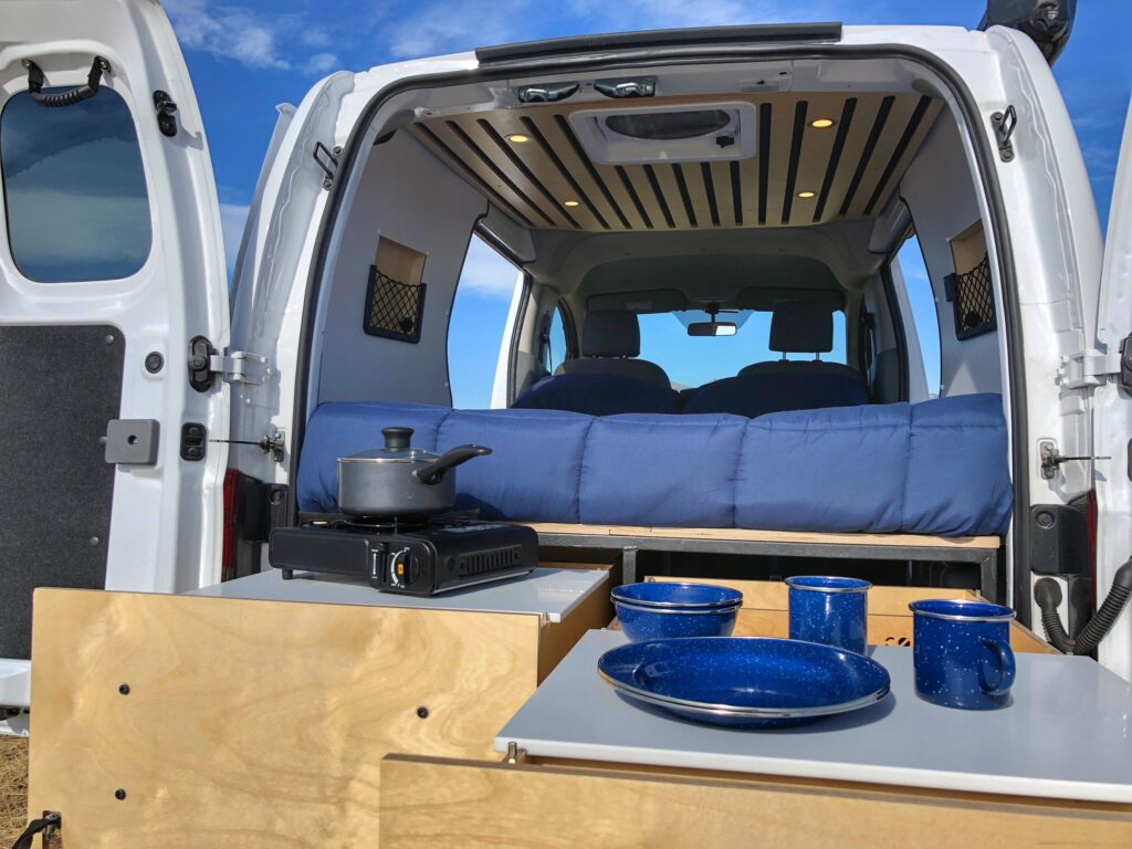 Van kitchen with two large sliding drawers