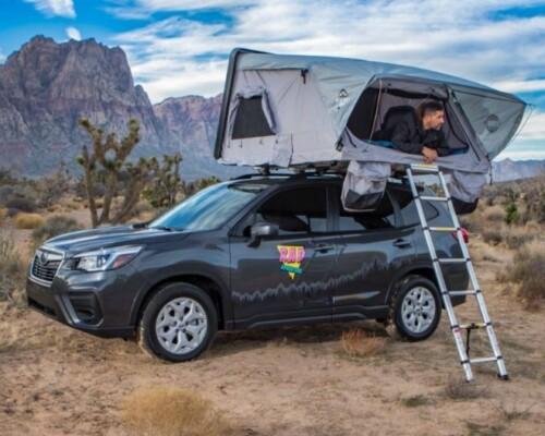 Subaru Forester camper with rooftop tent